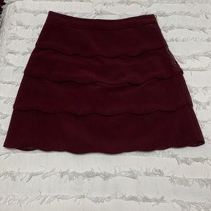 Scalloped Maroon Layered Skirt